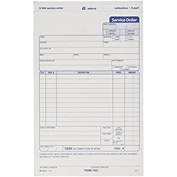 AmazonCom  Adams Service Order Form  Part Carbonless  X