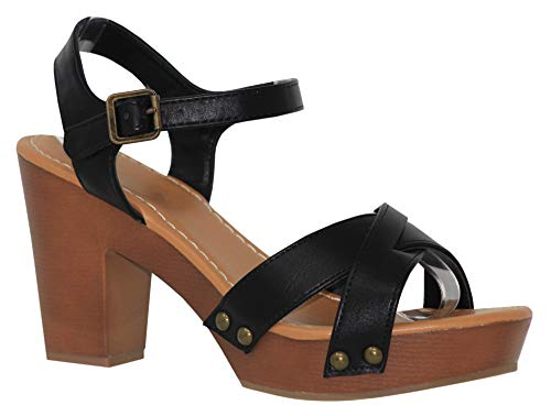 MVE Shoes Criss Cross Strappy Mid Heel Buckled Sandals, Economy Black PU 10