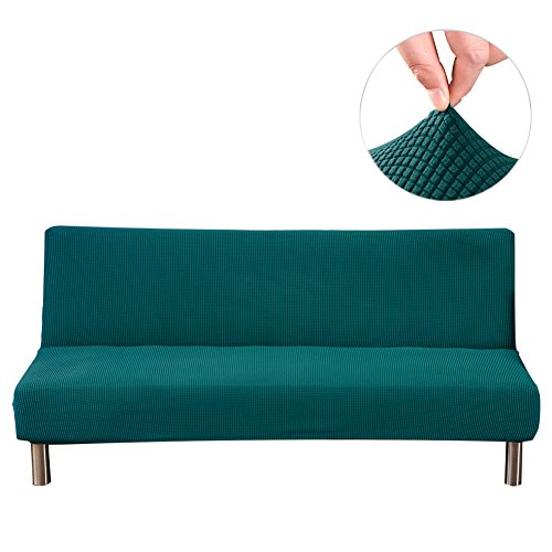 Younar Armless Futon Cover Knitting Thicker Stretch Sofa Bed Slipcover Protector Solid Color Full Folding 80 x 50 in
