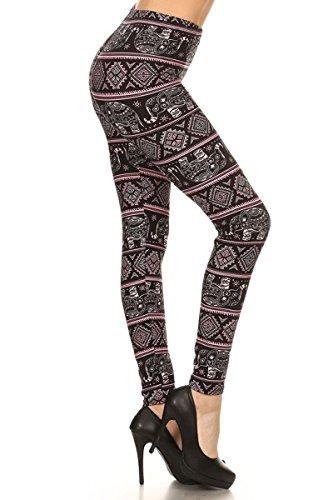 Leggings Depot Ultra Soft Regular and Fashion Leggings (Black Pink Elephant, One Size (S-L/Size 2-12))