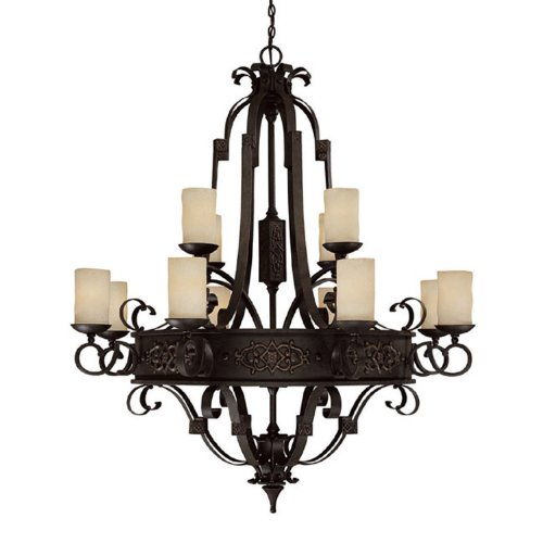 Capital Lighting 3602RI-125 Chandelier with Rust Scavo Glass Shades, Rustic Iron Finish For Sale