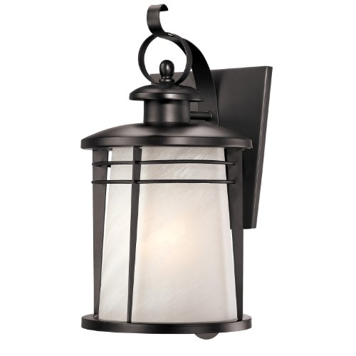 senecaville onelight exterior wall lantern weathered bronze finish on steel with white alabaster glass