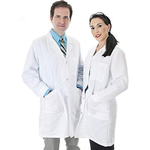 Talvania Lab Coat Unisex White Cotton Professional Lab Uniform Laboratory Coats Men/Women