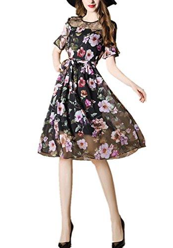 1900 Costumes For Sale (VOSTE Midi Dress Floral Printing Elegant Lace Splice Dress (L, Multicolor))