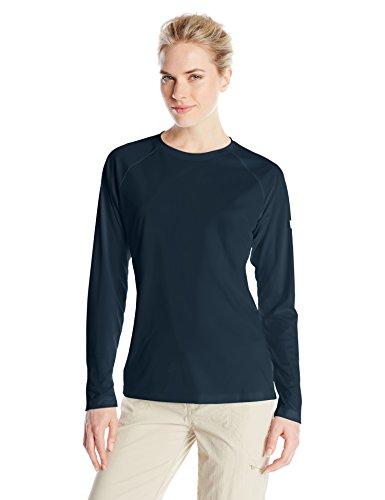 Womens Tee Big Logo (Columbia Women's PFG Tidal Tee II Long Sleeve Shirt , Collegiate Navy, White Logo, Small)