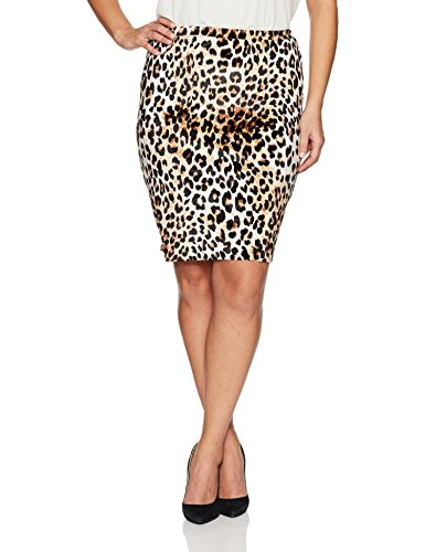Star Vixen Women's Plus Size Knee Length Classic Stretch Pencil Skirt, Leopard Print, 1X (Skirt Stretch Leopard)