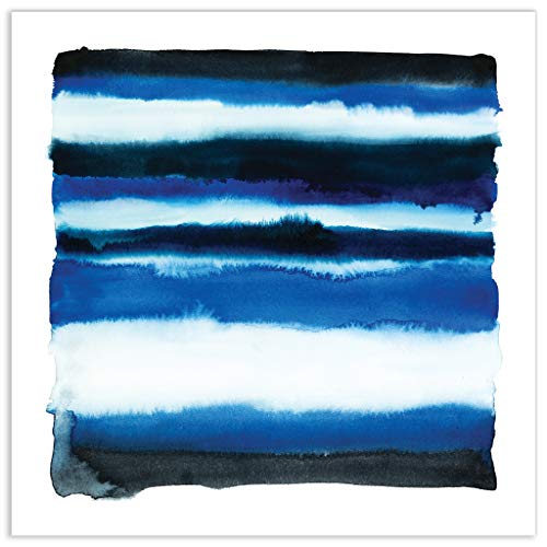 Empire Art Direct Abstract Art,Frameless Tempered Glass Panel,Contemporary Wall Decor Ready to Hang,Living Room,Bedroom & Office, 38 in. X 0.2 in. X 38 in. in, Blue
