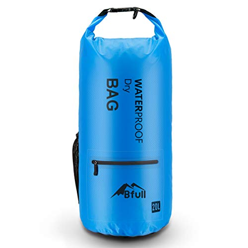 BFULL Waterproof Dry Bag 5L/10L/20L [Lightweight Compact] Roll Top Water Proof Backpack with 2 Exterior Zip Pocket for Kayaking, Boating, Duffle, Camping, Floating, Rafting, Fishing
