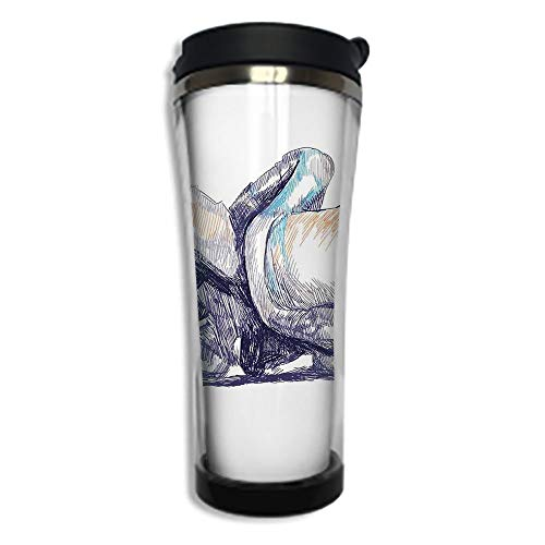 (Customizable Travel Photo Mug with Lid - 14.2OZ(420 ml) Stainless Steel Travel Tumbler, Makes a Great Gift by,Motorcycle,Sketchy Image of A Motorbike Racer Bending Down to the Route Performer Winner,P)