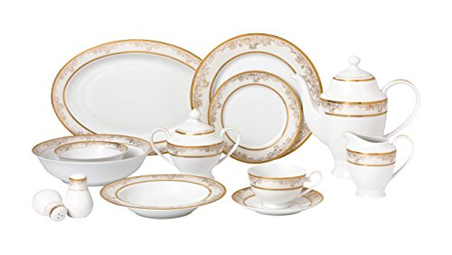 Lorren Home Trends 57 Piece 'Chloe' Bone China Dinnerware Set (Service for 8 People), Gold (Set Gold And White Dish)