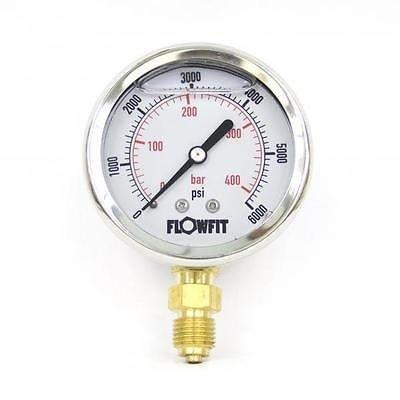 1//4 bsp bottom entry 414 BAR 63mm Glycerine Filled Hydraulic pressure gauge 0-6000 PSI
