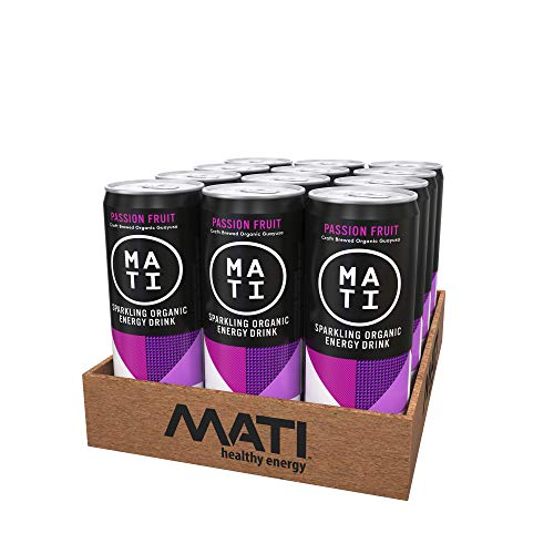 MATI   Organic Natural Healthy Energy Drink   Low Calorie Option   Passion Fruit Flavor   12 Pack
