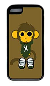 iPhone 5C Case, Personalized Protective Rubber Soft TPU Black Edge Case for iphone 5C - Monkey Cover