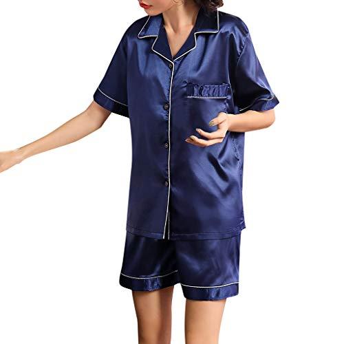 - Huifa Women Short Sleeve Sleepwear Pajamas Sets 2019 Summer Nightwear Loungewear (Blue,M)