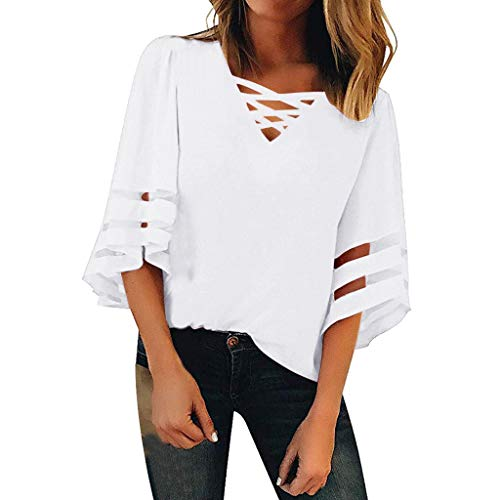 JOYFEEL Women's Casual 3/4 Bell Sleeve Criss Cross V Neck Blouses Mesh Panel Loose Patchwork Summer Shirts Tunic Tops - Tunic Whites
