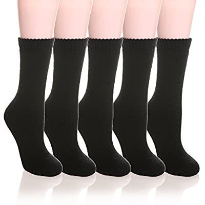 Womens 5 Pairs Super Thick Soft Solid Color Knit Wool Warm Crew Winter Socks