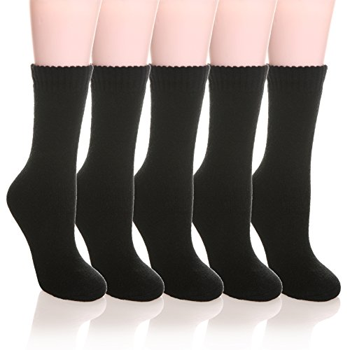 Womens 5 Pairs Super Thick Soft Solid Color Knit Wool Warm Crew Winter Socks (Black) (Wool Dinner)