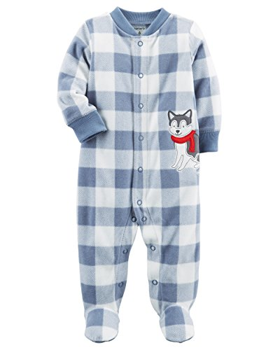 Carter's Baby Boys' Plaid Dog Snap up Fleece Sleep and Play 6 Months ()