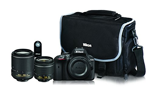 Nikon D3400 Dual Lens Kit that includes body, 18-55mm AF-P lens, 55-200 VR II lens, Nikon Messenger bag, and ML-L3 Remote Control