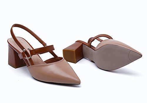 Sandals ZCJB Women's Shoes Middle Heel Summer Wedges Roman Shoes Apricot 45sENh20