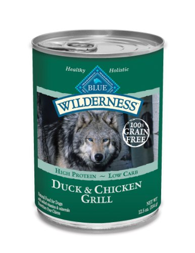 Blue Buffalo Wilderness Grain Free Canned Dog Food, Duck and Chicken Grill (Pack of 12 12.5-Ounce Cans)