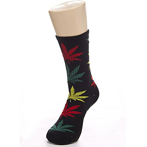 Leaves Socks Medium Thick Outdoor Sports Weeds Socks For Men And Women Black+red&yellow&green