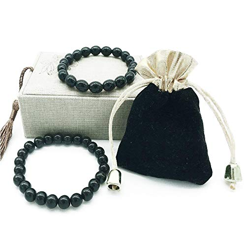 - Black Tourmaline Crystal Bracelet for Women and Men Emf Protection Negative Ion Balance Energy Bracelet Set