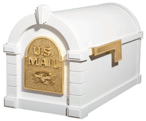 Gaines Original Series Keystone Mailbox In White And Polished Brass by GAINES MANUFACTURING INC