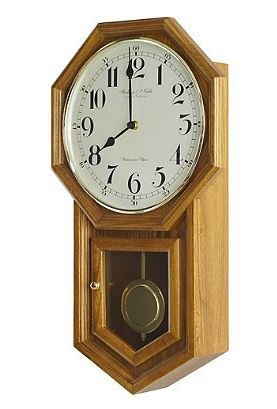 SN vintage Traditional Schoolhouse Wall Clock in Oak by Sterling and Noble 21'' L x 12'' W x 4'' D