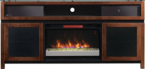 Bello GRAMERCY No Tools Assembly Chocolate Finish Wood Audio/Video Cabinet with Fireplace & Surround Sound