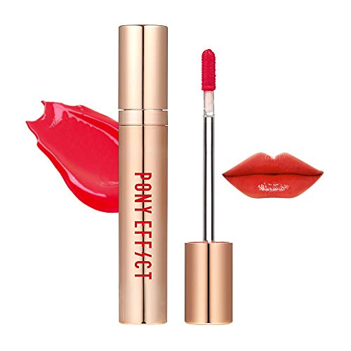 Sheer Gloss Lip Cherry (PONY EFFECT Favorite Fluid Lip Color Gloss #Go Pitapat 4.6g, 0.16 Ounces, Silky Texture, Moisture Liquid Lip Gloss, Glossy Natural Rose Color, High Glossy, Cherry Pinkish Red)