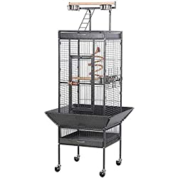 "Yaheetech Wrought Iron Parrot Bird Cage Playtop Cockatiel Cockatoo Birdcages (61""(Black))"