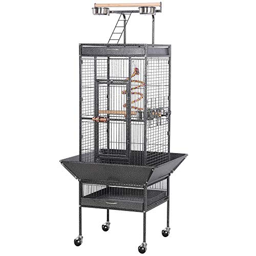 Yaheetech Wrought Iron Parrot Bird Cage Playtop Cockatiel Cockatoo Birdcages (61