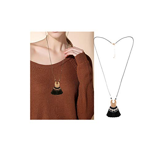 VUJANTIRY Long Necklaces for Women Bohemian Black Tassel Pendant Necklace Statement Lariat Necklace