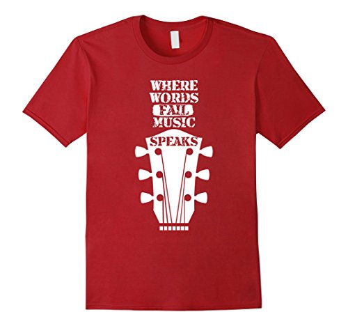 Mens Music Speaks Funny T-Shirt - Special Gift For Cool Musician XL Cranberry