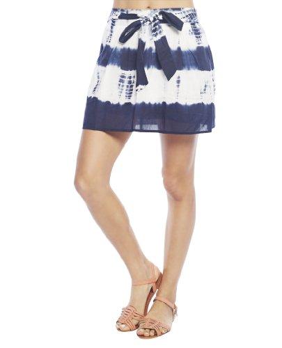 Wet Seal Women's Self Tie Dye Mini Skirt S Blue Pattern