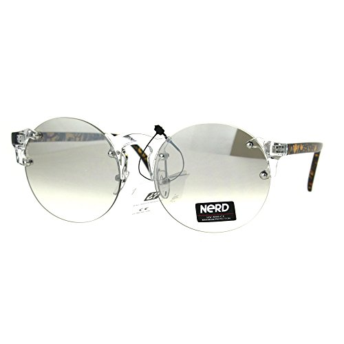 Nerd Round Rimless Hipster Clear Horn Rim Plastic Eye Glasses - For Nerd Guys Glasses