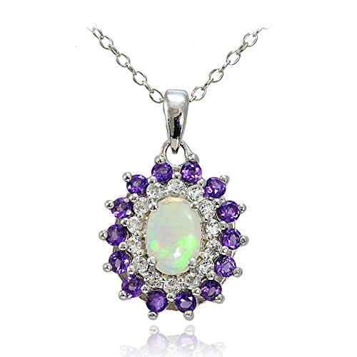 (Sterling Silver Ethiopian Opal, African Amethyst & White Topaz Oval Flower Necklace)