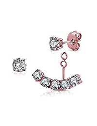 Sterling Silver Front Back 2 in 1 with Cubic Zirconia Stud And Ear Jacket Cuff Earrings Set