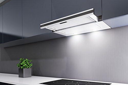 Maan campana corona Mikro 60 cm. Negro Cristal Frontal. LED. telescópico, bajo armario extractor de cocina con 2 filtros de carbón libre. Promoción.: Amazon.es: Grandes electrodomésticos
