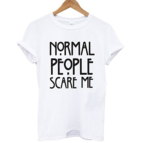 Dolland Normal People Scare Me Women Casual Loose Letter Print Short Sleeve Cotton T-shirt