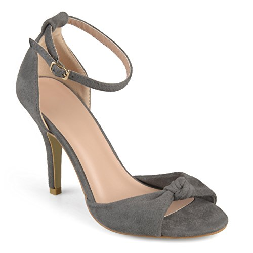 Journee Collection Womens Ankle Strap Knot High Heels Grey, 9 Regular US