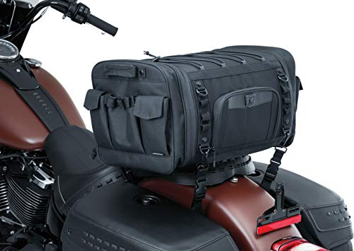 Kuryakyn 5283 Momentum Drifter Motorcycle Travel Luggage: Weather Resistant Roll Bag with Sissy Bar Straps, Black - Kuryakyn Luggage Rack