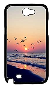 Beach Sunset Shore Birds Protective Hard Plastic Back Fits Cover Case for Samsung Galaxy Note 2 N7100 -1122017