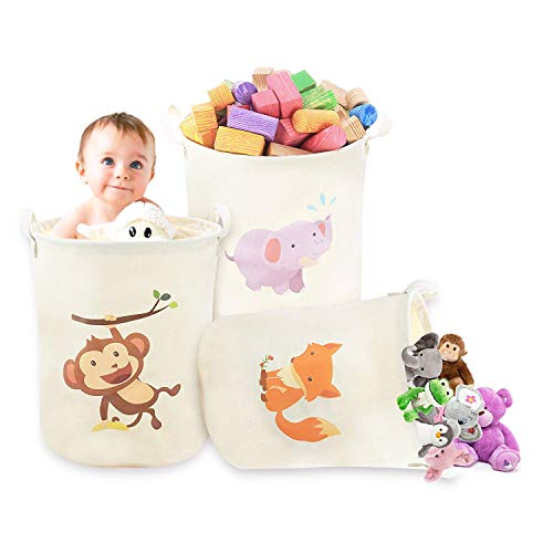 3-Pack Heavy Duty Large Collapsible Canvas Toy Storage Bags Baskets with handles, Clothing Hamper, Cute Animal Designs, Great For Toys Organization Toy Chest Kids Clothing, baby toys, animal toys