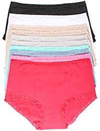 Youmita 12 Pack Hi-waist Cotton Lace Band Brief Style Panties with Extended Sizes