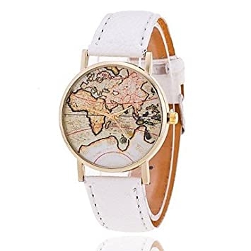 Reloj unisex estilo de mapa mundial / vendimia mapa del mundo / mapa del mundo antiguo