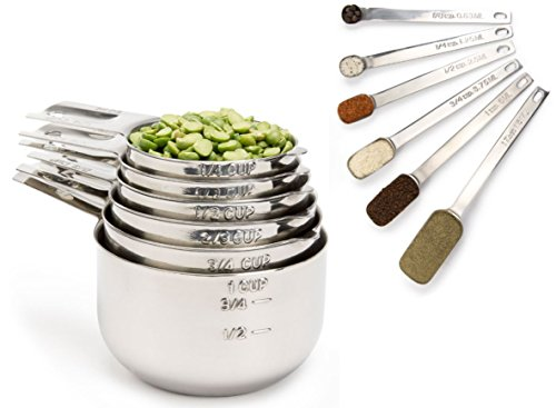 Simply Gourmet Stainless Steel Measuring Cups and Spoons Set (12-Piece). Lifetime Design!