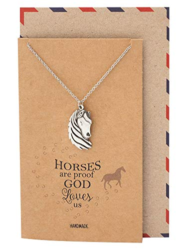 (Quan Jewelry Horse Necklace, Gifts for Equestrian Friends, New Beginnings Reminder Charm, Christian Jewelry, Gifts for Horse Racing Lover, Animal Pendant, Handmade with Quote Card)