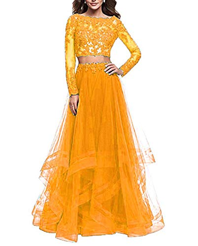 ac79fd00903 Home Brands MEILISAY Dresses Scarisee Women s 2 Piece Beaded Prom Evening  Dresses Long Sleeved Lace Formal Party Gowns Long Orange 08.   